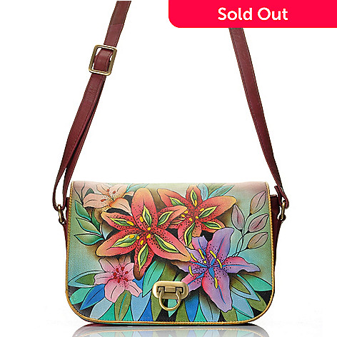 712-627 - Anuschka Hand-Painted Leather Flap-over Accordion-Style Cross Body Bag