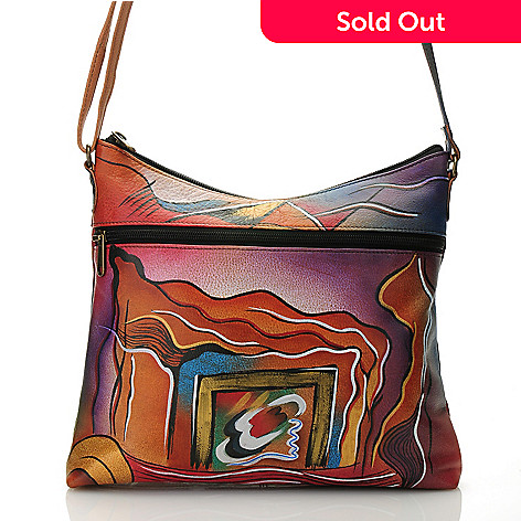 712-629 - Anuschka Hand-Painted Leather Zip Top Cross Body Bag