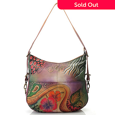 712-631 - Anuschka Hand-Painted Leather Large Shopper Handbag w/ Adjustable Strap