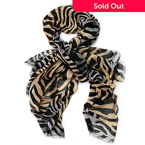 712-644 - Modern Heritage Lightweight Woven 69'' x 41'' Raw Fringe Zebra Print Scarf