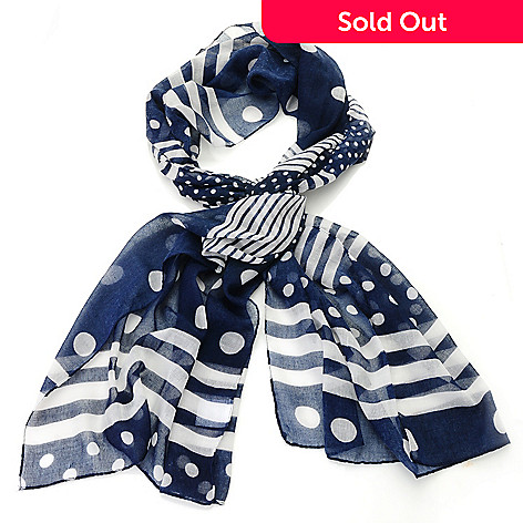 712-647 - Modern Heritage Lightweight Woven 69'' x 21'' Mixed Stripe & Polka Dot Scarf