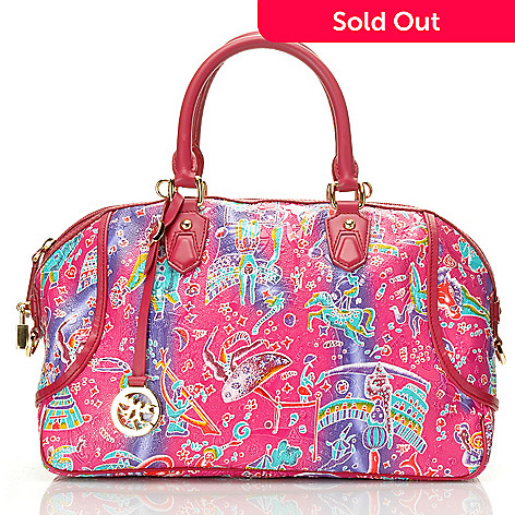 712-720 - Piero Guidi Coated Canvas Magic Circus Crazy Color Satchel
