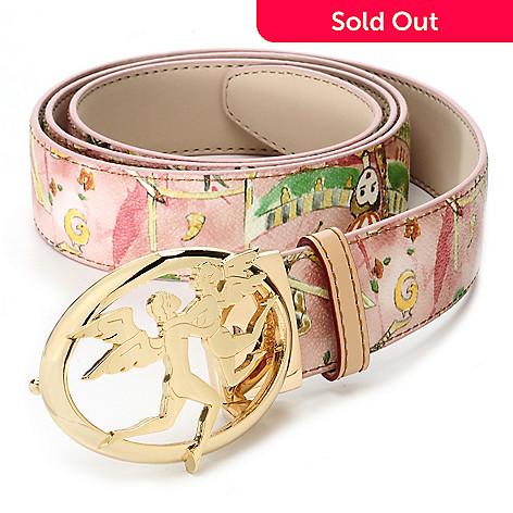 712-729 - Piero Guidi Coated Canvas Magic Circus Cherie Collection Oval Buckle Belt