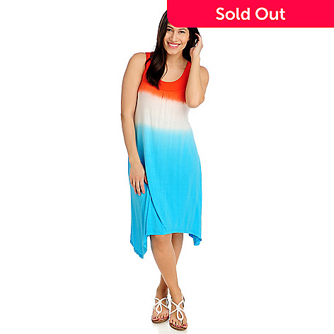 712-735 - WD.NY Stretch Knit Sleeveless Tie-dyed Sharkbite Dress