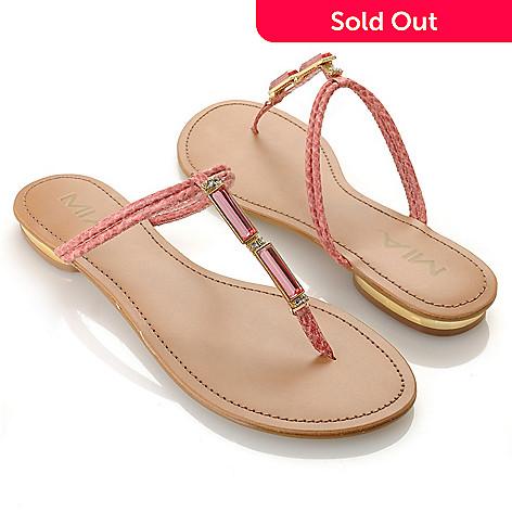 712-741 - MIA Rhinestone Embellished T-Strap Thong Sandals