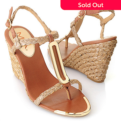 712-743 - MIA Braided T-Strap Wedge Sandals