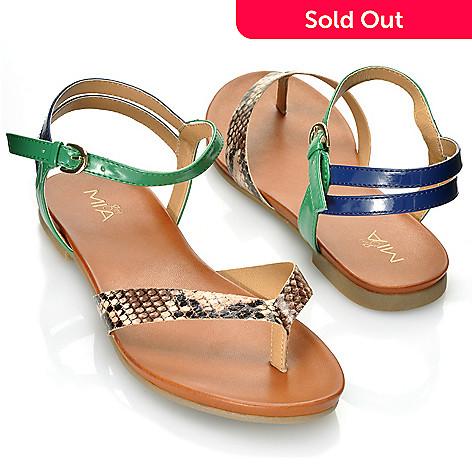 712-746 - MIA ''Jannett'' Patent &Snake Embossed Thong Sandals