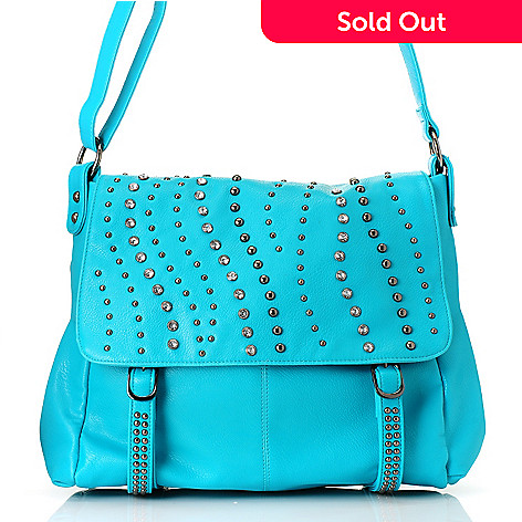 712-749 - LaTique ''Rio'' Rhinestone & Stud Detailed Messenger Bag