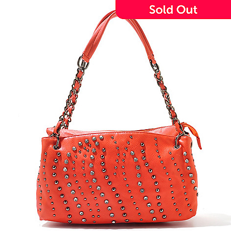 712-750 - LaTique ''Rio'' Rhinestone & Chain Detailed Studded Satchel