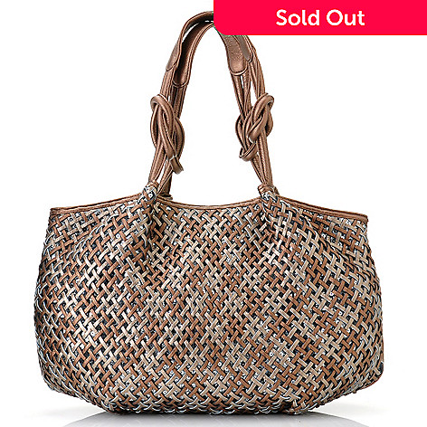 712-751 - LaTique ''Santorini'' Sequin Accented Woven Front East-West Tote Bag