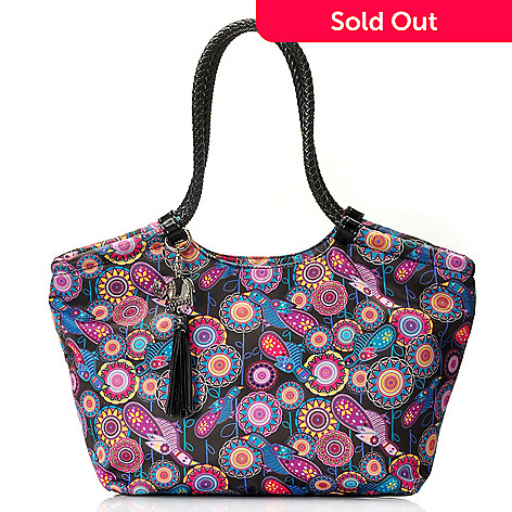 712-769 - BollyDoll Printed Double Braided Handle Zip Top Large East-West Tote Bag
