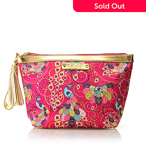 712-770 - BollyDoll Printed & Tasseled Large Zip Top Cosmetic Pouch w/ Wrist Strap