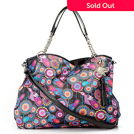 712-773 - BollyDoll Printed Chain Detailed Tote Bag w/ Cross Body Strap