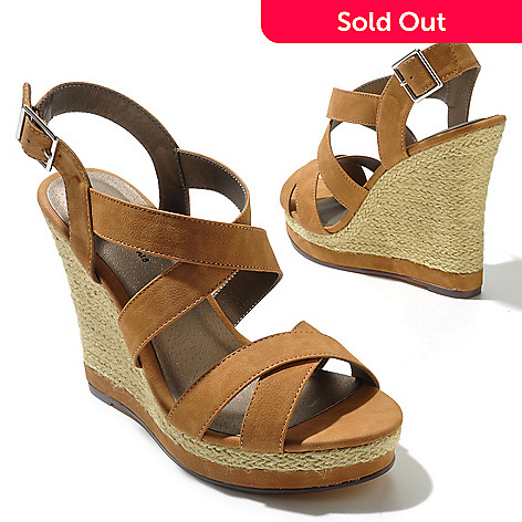 712-814 - Michael Antonio Raffia-Wrapped ''Glennie'' Crisscross Wedge Sandals