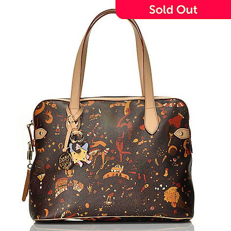 712-825 - Piero Guidi Coated Canvas Magic Circus ''Vittoria'' Small Tote Bag