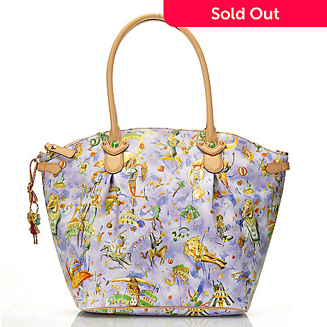 712-830 - Piero Guidi Coated Canvas Magic Circus Cherie Collection Dome Top Tote Bag
