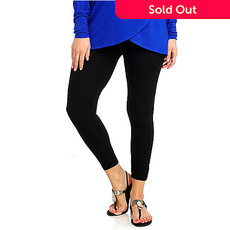 712-849 - aDRESSing WOMAN Stretch Knit Ankle Length Side Vent Stud Leggings