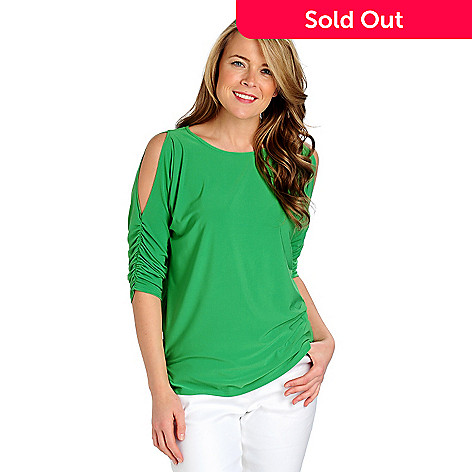 712-857 - Kate & Mallory® Stretch Knit Ruched Sleeved Cold Shoulder Top