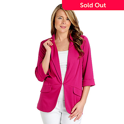 712-858 - Kate & Mallory Stretch Ponte 3/4 Sleeved Hook & Eye Closure Knit Blazer