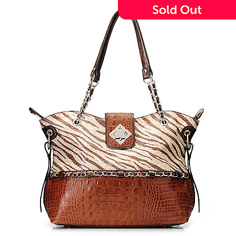 712-863 - Madi Claire Croco Embossed Leather ''Carly'' Zebra Print Tote Bag