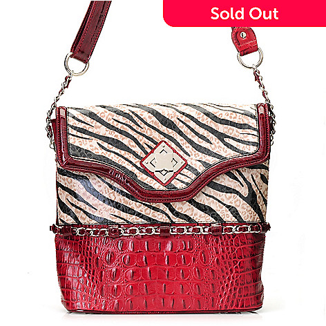 712-864 - Madi Claire Croco Embossed Leather ''Carly'' Zebra Print Cross Body Bag