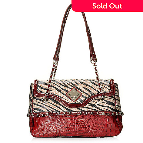 712-865 - Madi Claire Croco Embossed Leather ''Carly'' Zebra Print Satchel