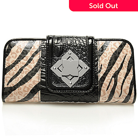 712-866 - Madi Claire Croco Embossed Leather ''Carly'' Zebra Print Wallet