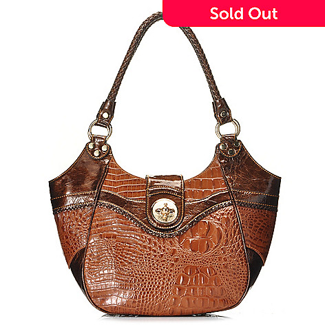 712-867 - Madi Claire Croco Embossed Leather ''Estelle'' Double Rope Handle Hobo Handbag