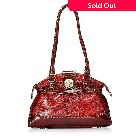 712-868 - Madi Claire Croco Embossed Leather ''Estelle'' Double Rope Handle Dome Satchel
