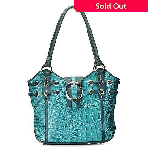 712-871 - Madi Claire Croco Embossed Leather ''Simone'' Buckle Detailed Tote Bag
