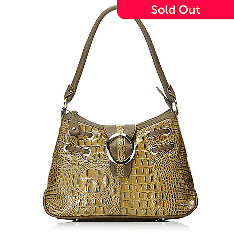 712-872 - Madi Claire Croco Embossed Leather Buckle Detailed Hobo Handbag