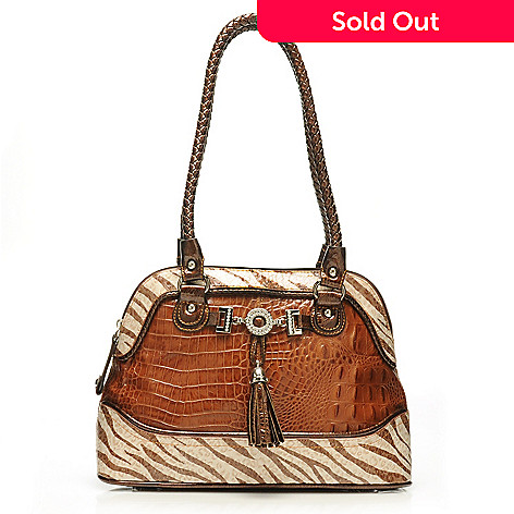 712-876 - Madi Claire Croco Embossed Leather ''Samantha'' Zebra Print Satchel