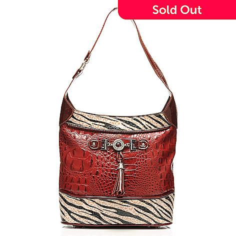 712-877 - Madi Claire Croco Embossed Leather ''Samantha'' Zebra Print Hobo Handbag