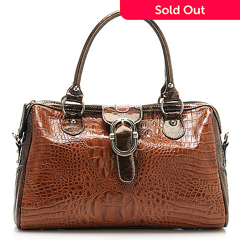 712-880 - Madi Claire Croco Embossed Leather ''Tracy'' Buckle Detailed Barrel Satchel