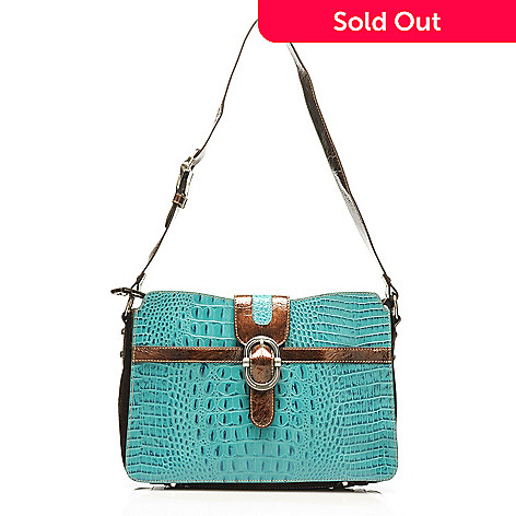 712-881 - Madi Claire Croco Embossed Leather ''Tracy'' Buckle Detailed Shoulder Bag