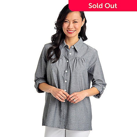 712-883 - OSO Casuals Woven Chambray Roll Tab Sleeved Ruched Yoke Collared Shirt