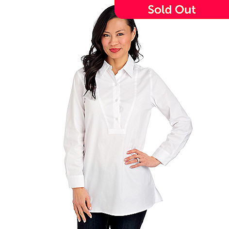 712-884 - OSO Casuals Cotton Woven Long Sleeved Half Placket Tunic Shirt