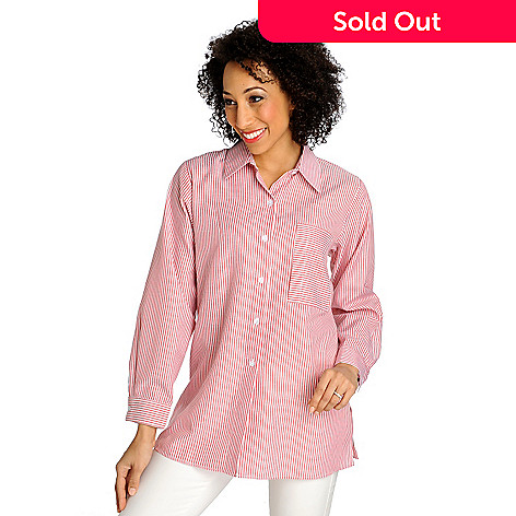 712-901 - OSO Casuals® Woven Stripe Long Sleeved Button-down Tunic