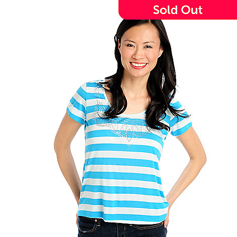 712-905 - Glitterscape Stretch Knit Short Sleeved Foil Print Detail Striped Top
