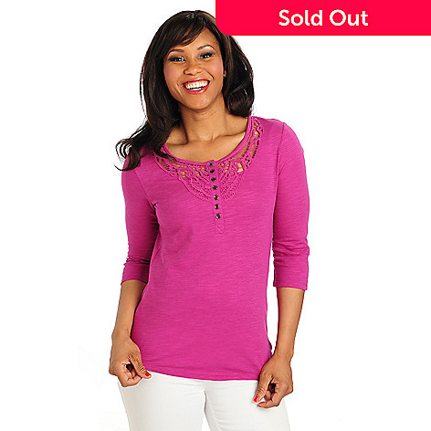 712-909 - OSO Casuals™ Stretch Knit Tab Sleeved Henley Neck Tunic