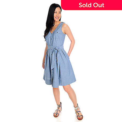 712-911 - OSO Casuals™ Woven Chambray Sleeveless Crochet Back Yoke Shirt Dress