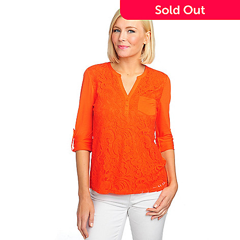 712-916 - Kate & Mallory® Lace Front Knit Back Roll Tab Sleeved Hi-Lo Top