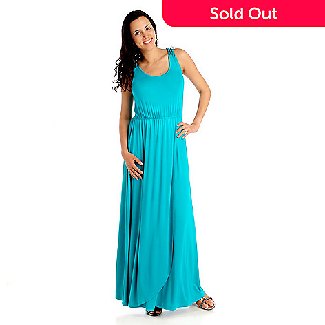 712-919 - Kate & Mallory® Stretch Knit Sleeveless Crochet Back Maxi Dress