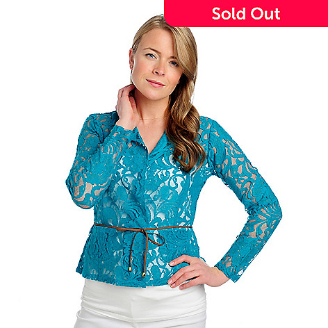 712-923 - Kate & Mallory® Lace Knit Open Front Tie-Waist Two-Pocket Jacket