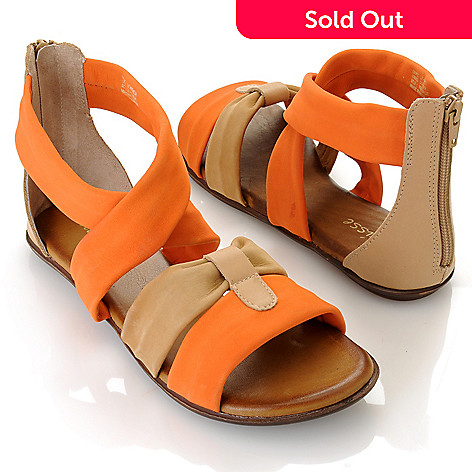 712-932 - Matisse® Leather ''Aussie'' Crisscross Strap Back Zip Sandals