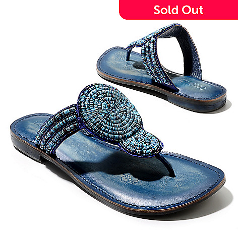 712-938 - Matisse Leather ''Clarity'' Bead & Sequin Embellished Thong Sandals