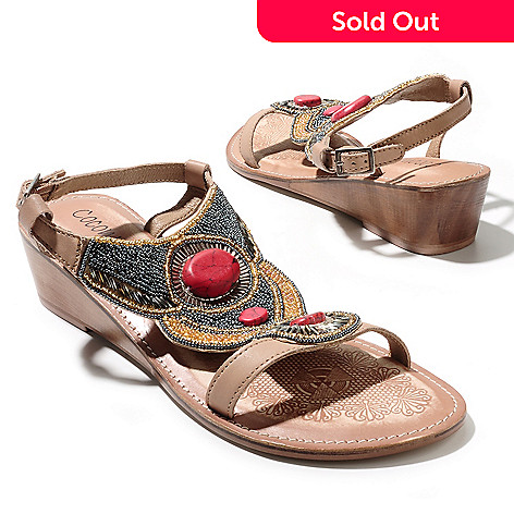 712-940 - Matisse® Leather ''Clarity'' Bead & Sequin Embellished Thong Sandals