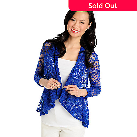 712-949 - Kate & Mallory® Stretch Lace 3/4 Sleeved Drape Front Jacket