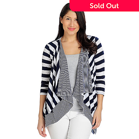 712-950 - Kate & Mallory® Stretch Knit 3/4 Sleeved Cascade Front Striped Cardigan