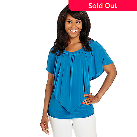 712-951 - Kate & Mallory Stretch Knit Cascade Ruffle Elastic Neckline Top